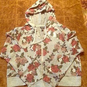 Torrid Floral Print Gray Zipper Crop Hoodie Size 0